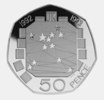 How much is the 1992-93 Single European Market 50p coin