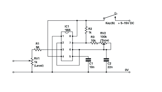 Oscillator Schematic On 555 Code Practice Oscillator Circuit Diagram