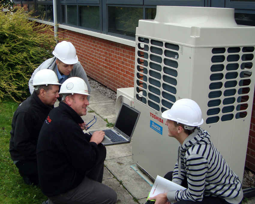 Training on outdoor units at Toshiba