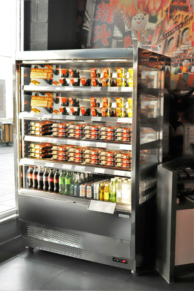 refrigerated cabinet food outlet restaurant