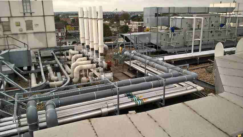 pipework chilled water chiller air conditioning system chelsea hospital
