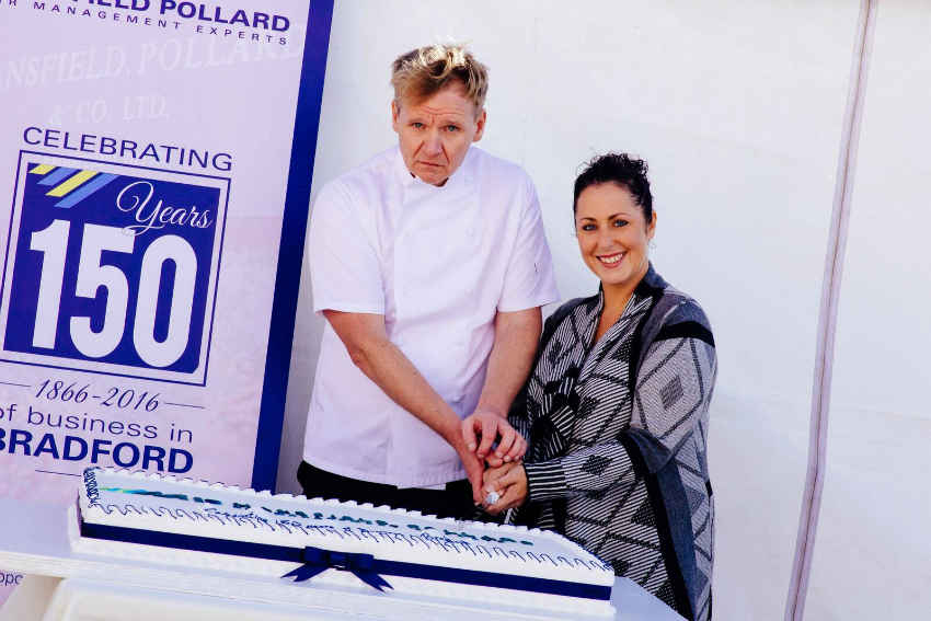 Joanna Robinson, MD of Masfield Pollard with Gordon Ramsay double
