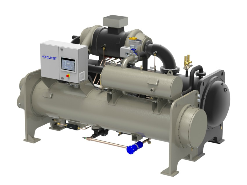 water cooled liquid chiller clivet compressor centrifugal