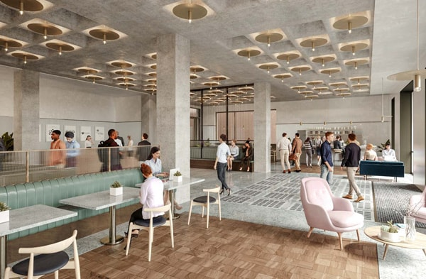 A CGI of the reception area at 77 Coleman Street