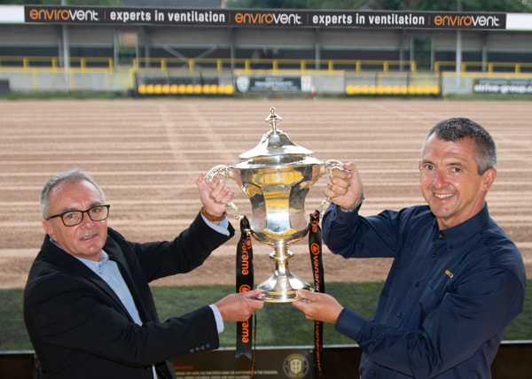 Andy Makin of EnviroVent, right, with Garry Plant of Harrogate Town AFC