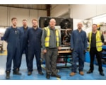 Peter Woods, centre, and John Kilby, right with some members of the Wolseley Custom Build team