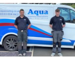 Joe Barnes, right, with Aqua's Alan Carter