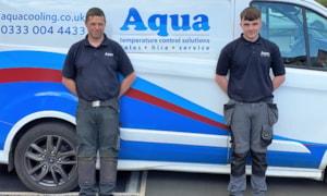 Joe Barnes, right, with Aqua's Alan Carter