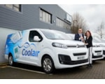 Citroen Regional Business Sales Manager James Walton handing keys to Coolair Equipment's Finance Director Helen Sharratt at the company's Manchester HQ