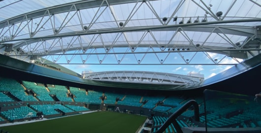 The retractable roof on No.1 Court can be closed in around eight minutes