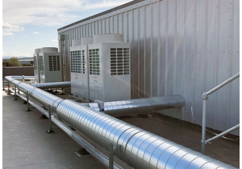 Toshiba outdoor condensing units and pipework at the hotel