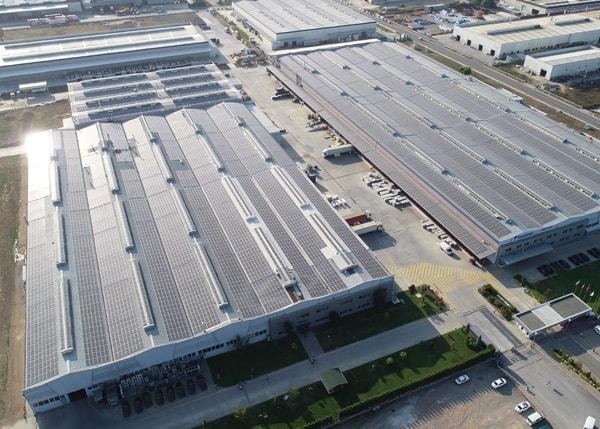 Solar panels on the roof of the Daikin factory in Sakarya, Turkey