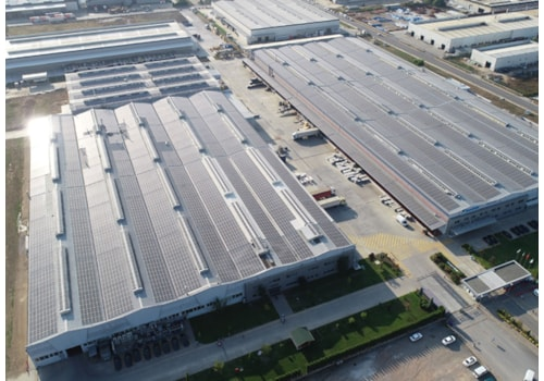 Solar panels on the roof of the Daikin factory in Sakarya, Turkey
