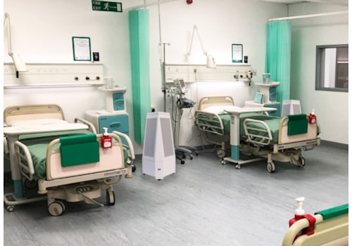One of the mobile air sterilisation units on a hospital ward