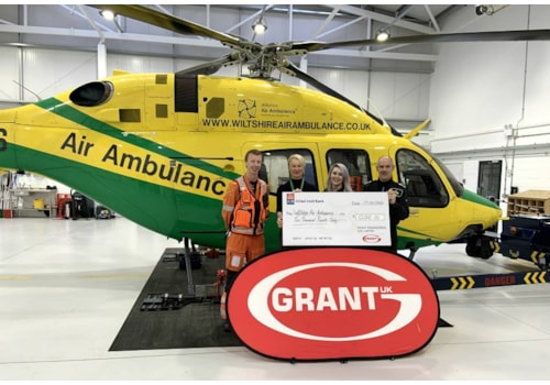 From left, Craig Wilkins (WAA paramedic), Val Whistler (WAA Fundraiser Co-ordinator), Amy Aland (Grant UK Marketing Executive) and Rob Buckus (WAA pilot)