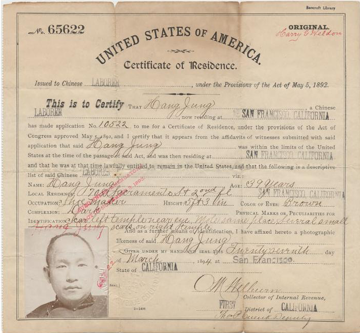 A certificate of residence from the era of the Chinese Exclusion Act