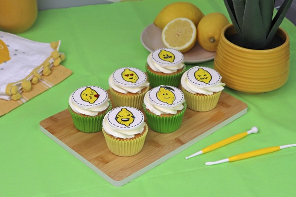 Lemon emoji cupcake toppers