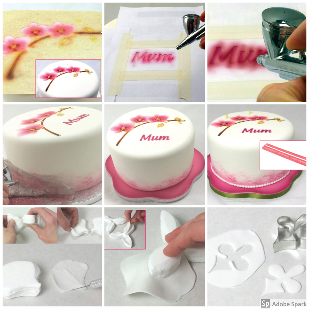 Orchid flower cake airbrush tutorial