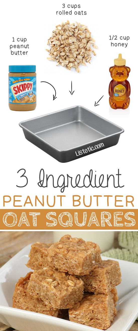 3.-3-Ingredient-Peanut-Butter-Oat-Squares-These-are-so-GOOD-and-easy-no-bake-5-Ridiculously-Healthy-Three-Ingredient-Treats