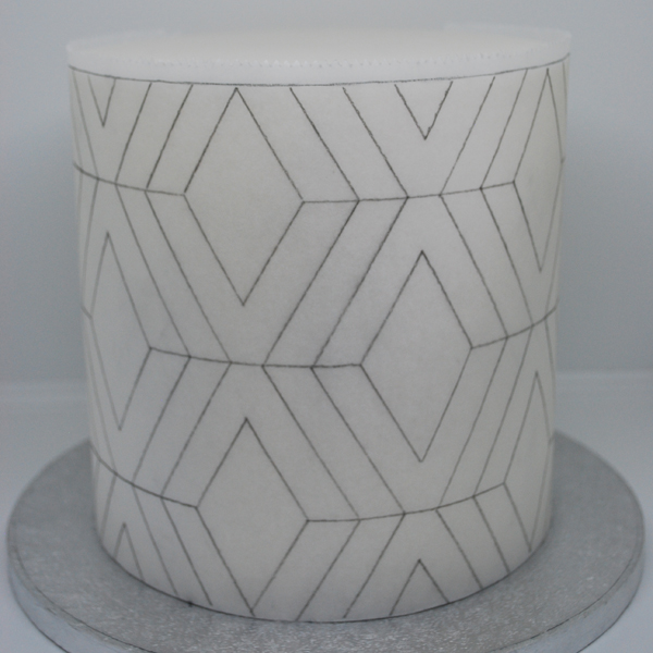 geometric cake template around cake