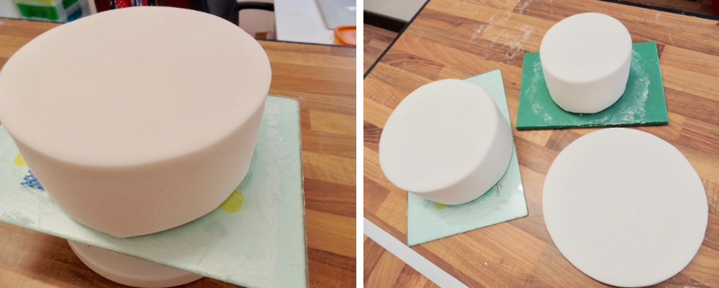 icing cake tiers with sugarpaste