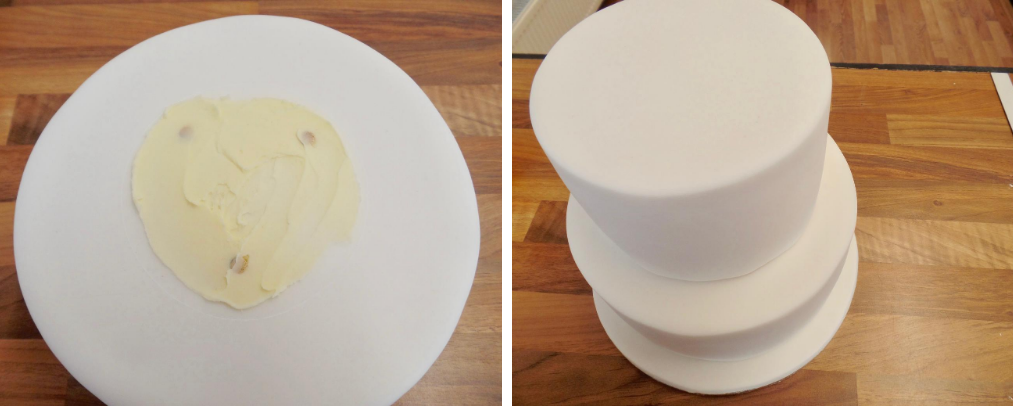 stacking Madeira cake tiers