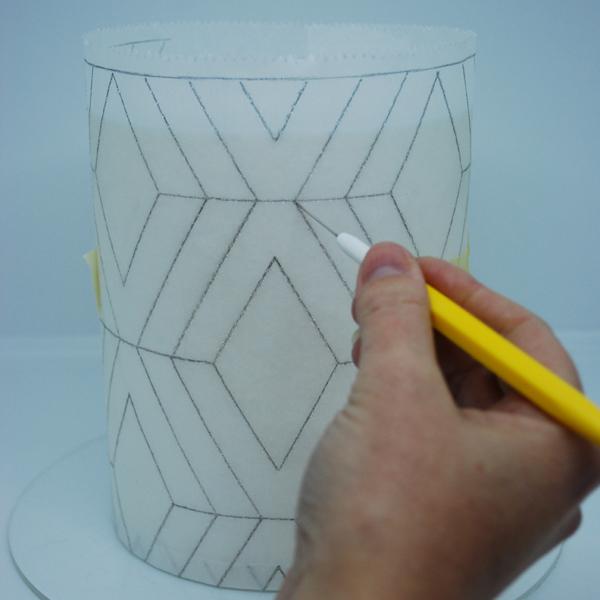 geometric template wrapped around cake