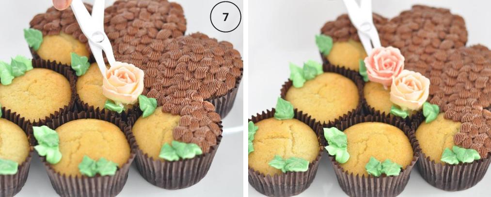 Arrange roses on pull apart cupcakes
