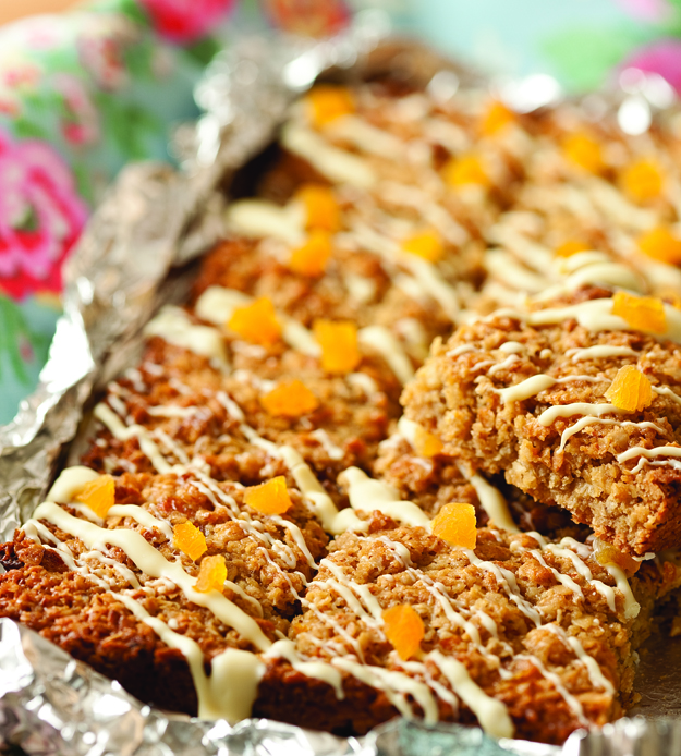 apricot and white chocolate flapjack