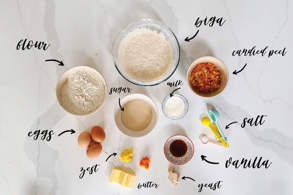 Ingredients for Colomba di Pasqua