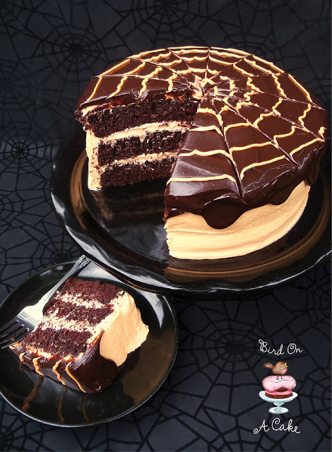 Chocolate Orange Spider Web Cake4 logo