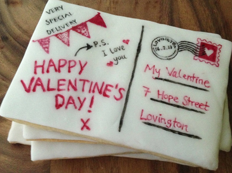 Valentines postcard biscuits