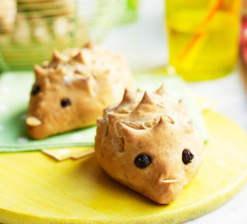 Hedgehog-shaped bread rolls