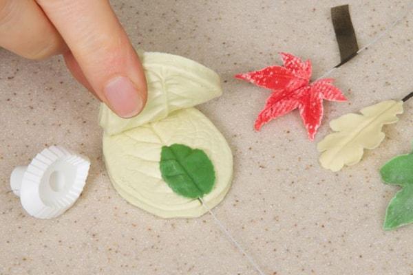 Acorn and oak leaves step 7
