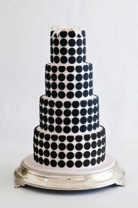 black-and-white-polka-dot-three-tiered-wedding-cake