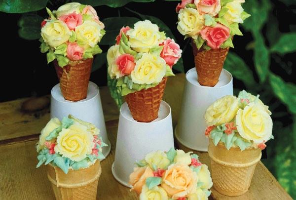 Buttercream flower bouquet cupcake cones