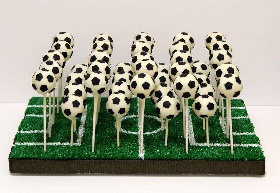 Best football cakes - many cake pops on pitch holder