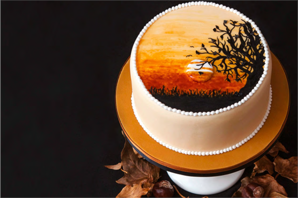 Hand painted autumn cake
