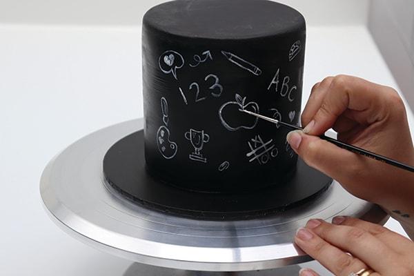 Chalkboard Effect Cake Step 2