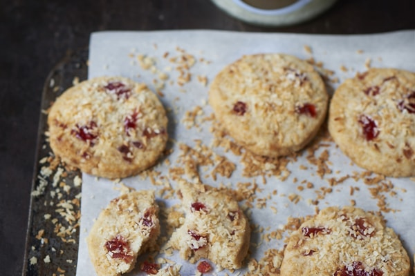 Cherry coconut biscuits