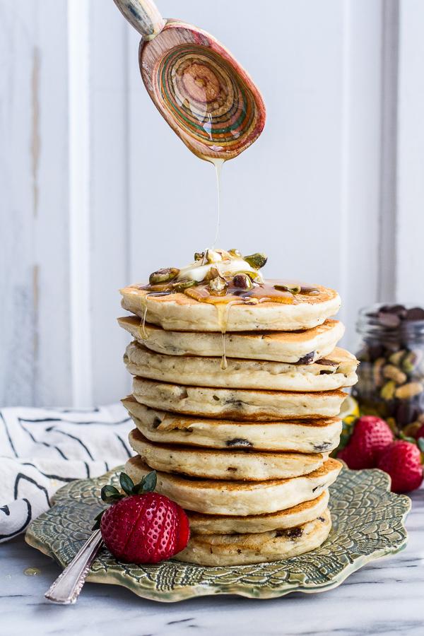 Chocolate-Chip-Lemon-Baklava-Pancakes-with-Salted-Vanilla-Honey-Syrup.-16