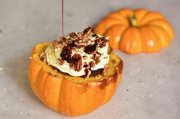 Mini pumpkin cupcake drizzled with date syrup