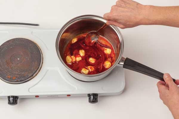 Ingredients being heated in a saucepan