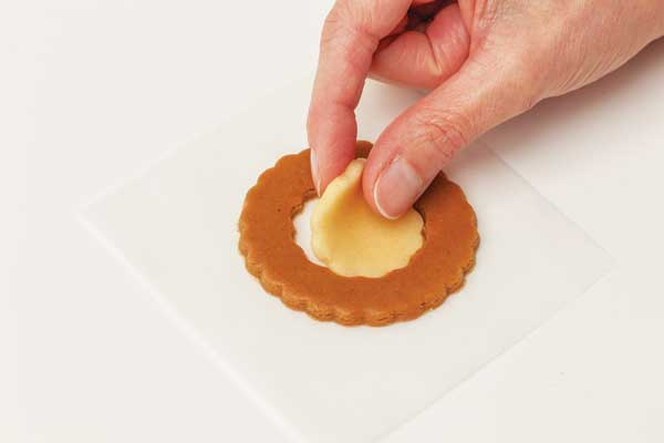 Gingerbread cookie shape with shortbread inlay