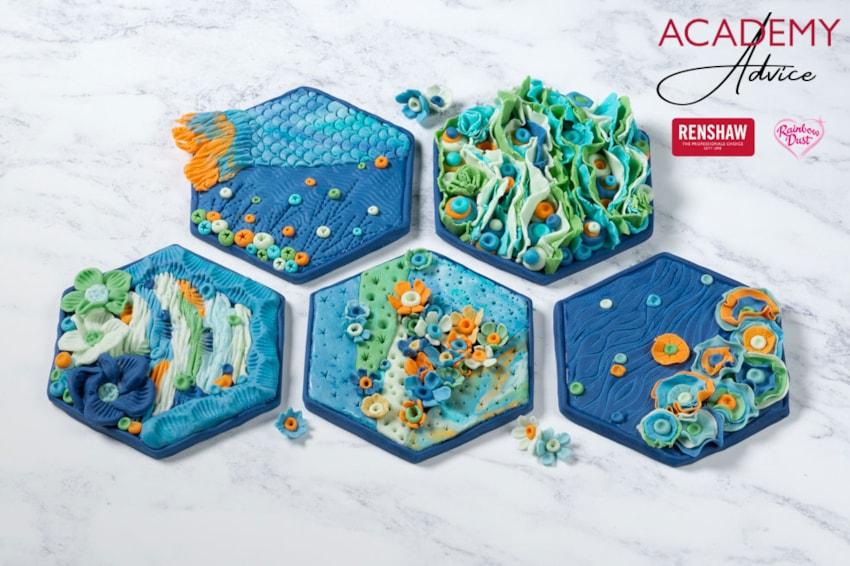 Sugarpaste sea-themed tiles