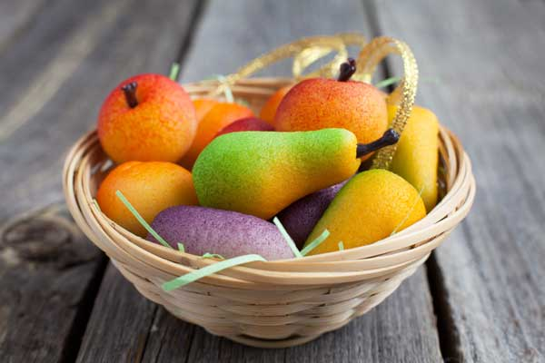 Marzipan fruits in a basket