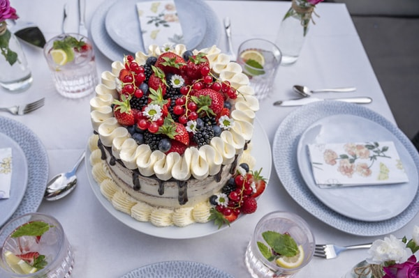 Hermine's very berry semi-naked cake with ProCook's Malmo tableware and Sevona tumblers