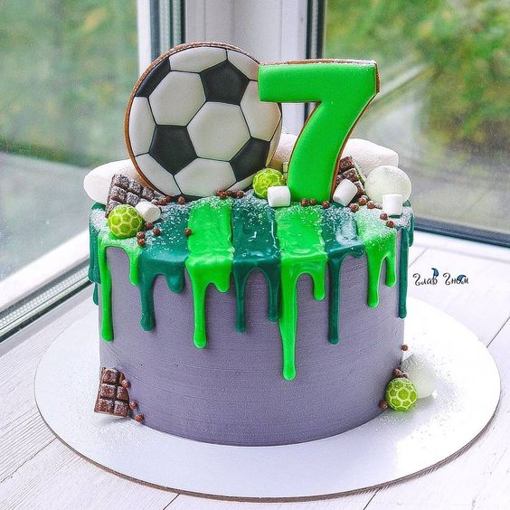 Best football cakes - Jazzy drip cake green and purple