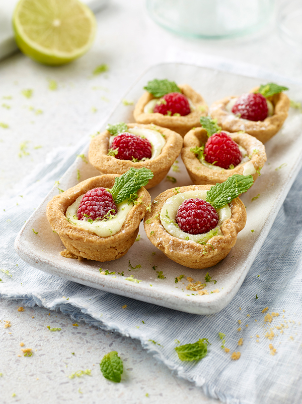 Little raspberry and lime tarts