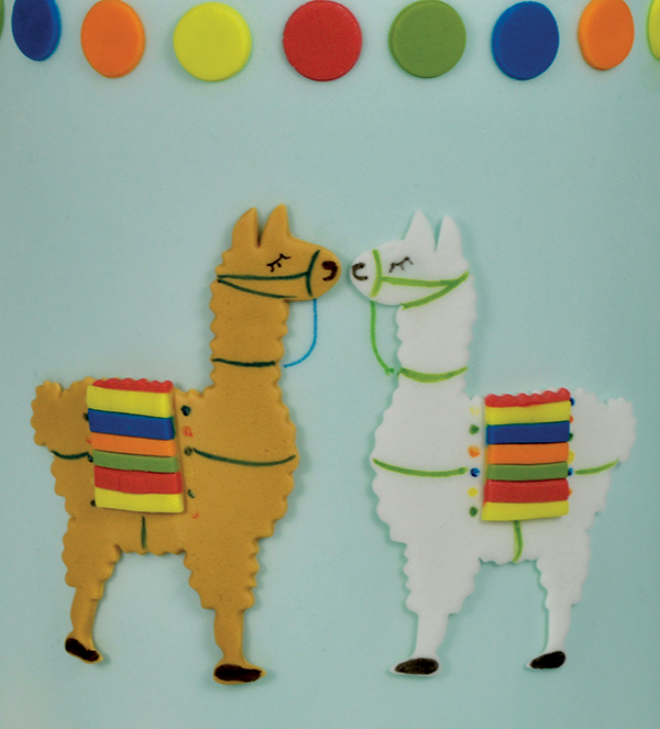 Llama cake and cupcake decorations
